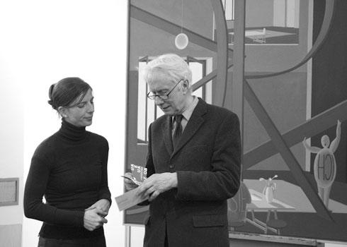 Tanja Ruzicska und Ulrich Erben vor einem Bild von Thomas Huber
